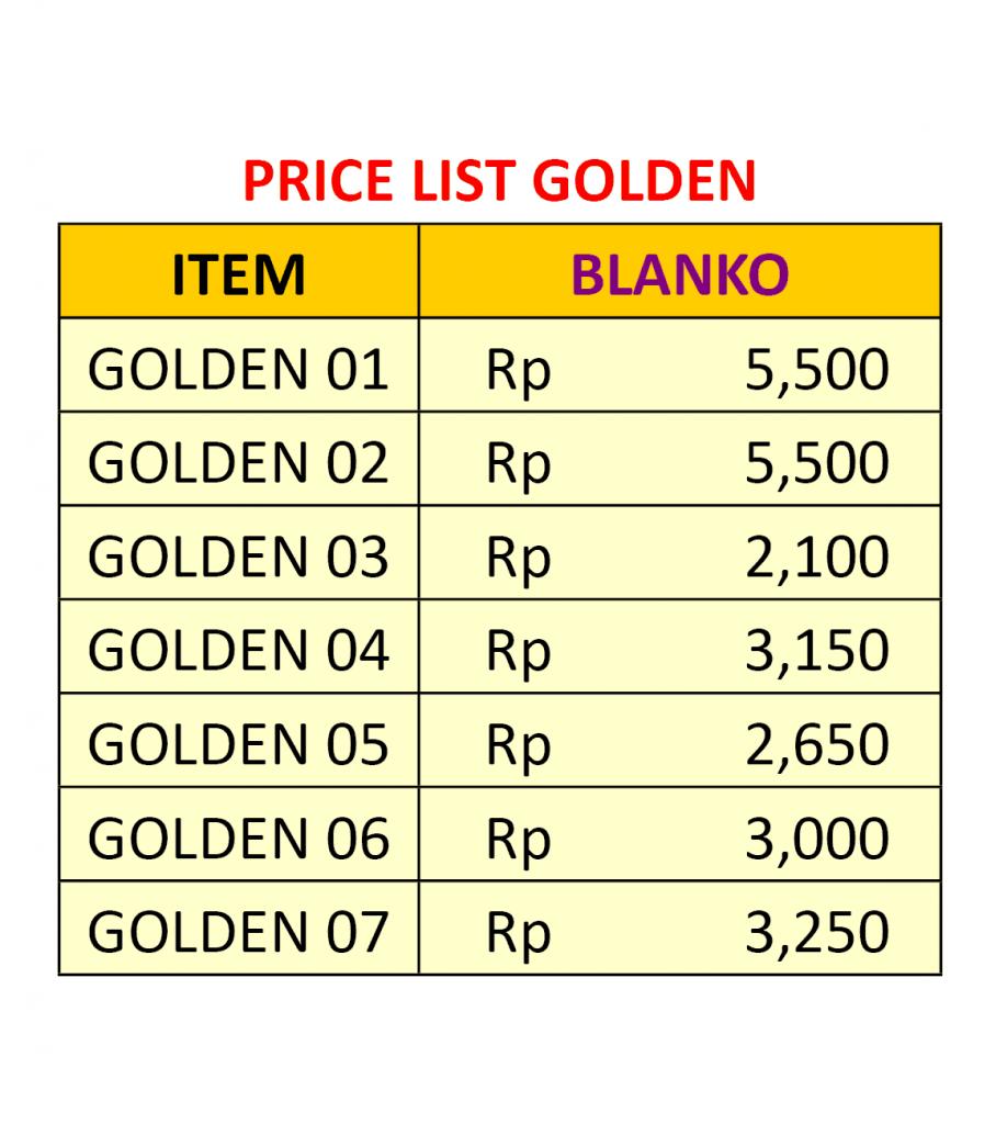 Daftar Harga Kartu Undangan Golden