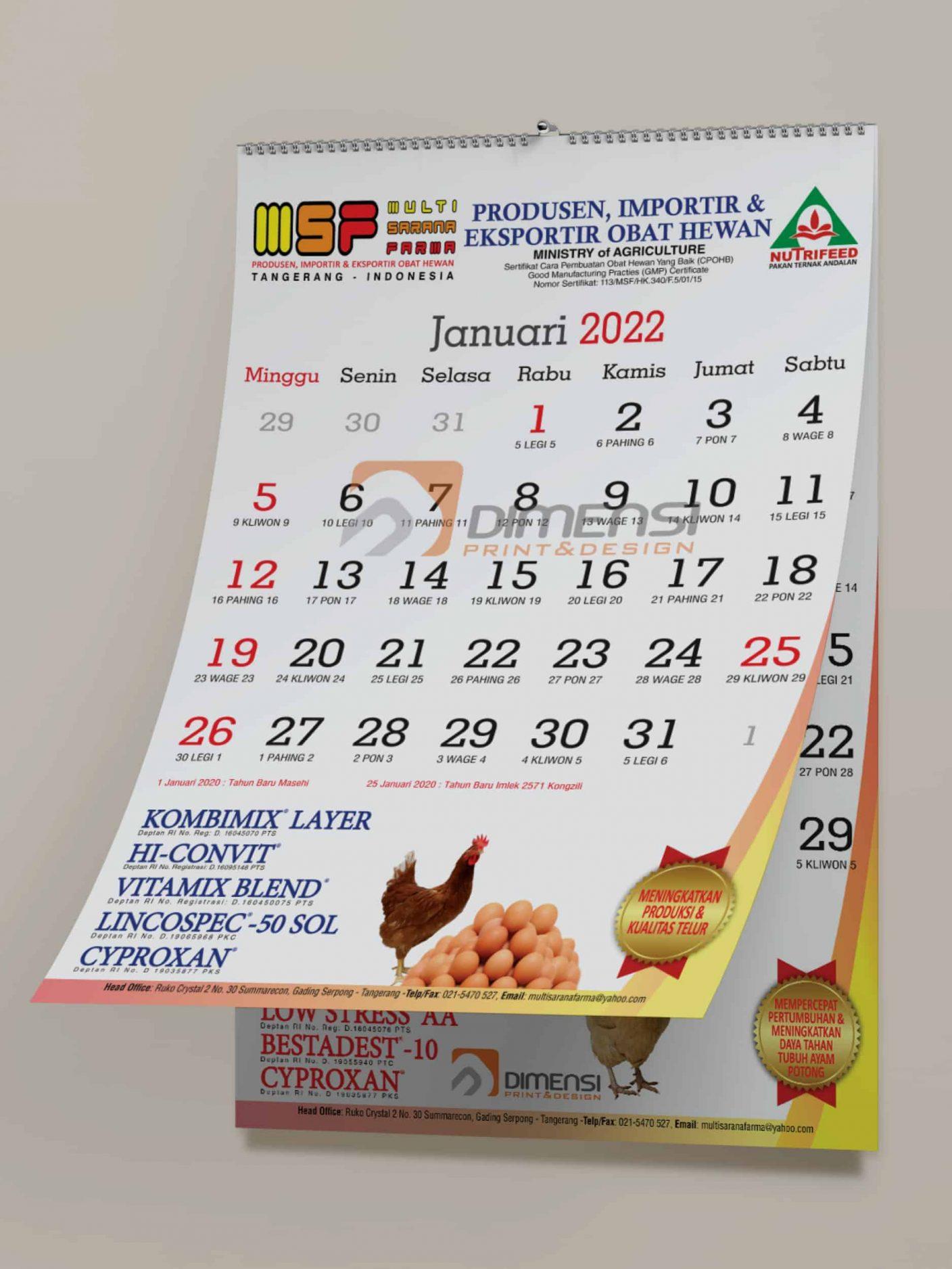Jasa Desain Dan Cetak Kalender Dinding Online Harga Murah